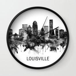 Louisville Kentucky Skyline BW Wall Clock