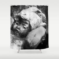 headdress Shower Curtains featuring Cherub with Headdress by C. Wie Design