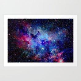 Blue Glitter Galaxy Art Print