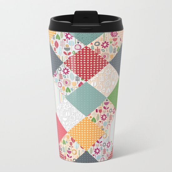 paper cut flower diamonds Metal Travel Mug