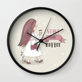 Start with Coffee Wall Clock