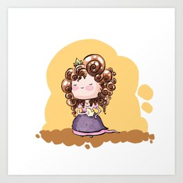 Emmelyn - Curly hair princess Art Print
