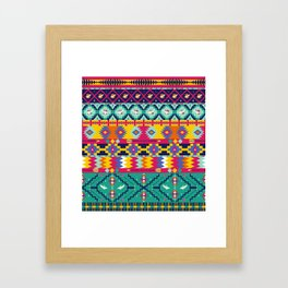 Seamless colorful aztec pattern with birds Framed Art Print