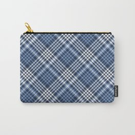 Navy Blue Plaid Carry-All Pouch