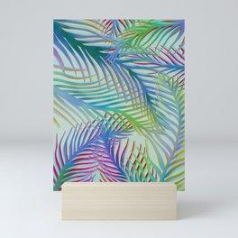Palm Leaves Pattern - Blue, Purple, Green Mini Art Print