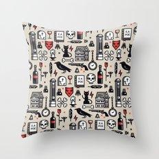 Edgar Poe Pattern Throw Pillow