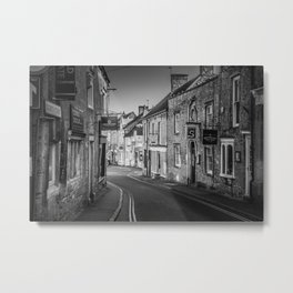 Winding Cotswold Town Road Black and White England Metal Print