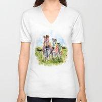 zebra V-neck T-shirts featuring Zebra by Anna Shell