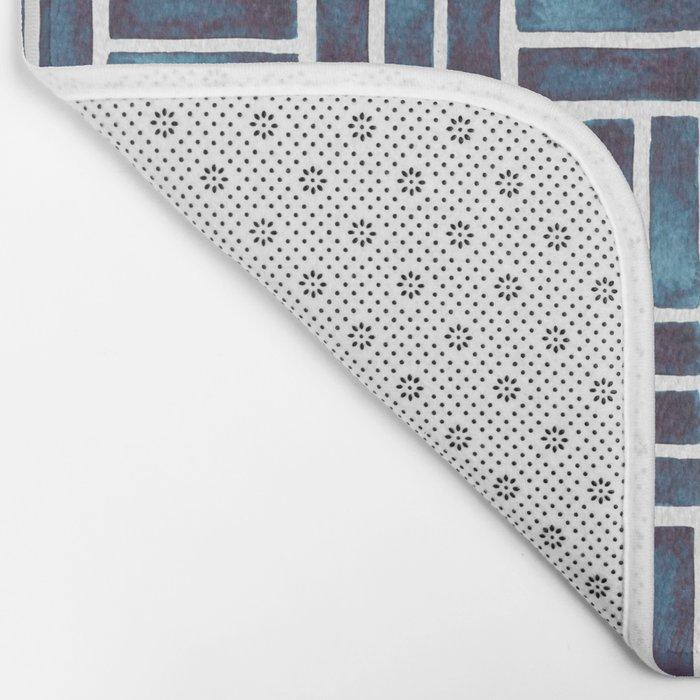 Navy Watercolour Rectangles Bath Mat