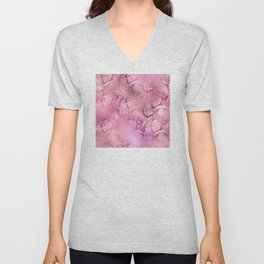 Iridescent Tropical Leaves in Pink and Pastels Unisex V-Neck