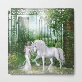Wonderful fairy with unicorn Metal Print