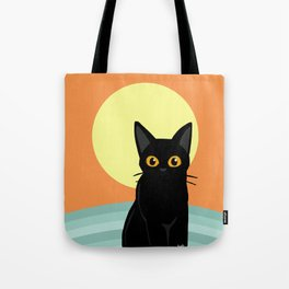 Sunset and cat Tote Bag