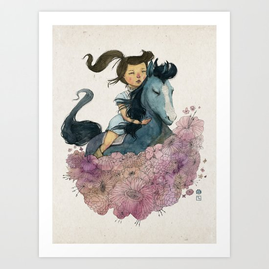 Blue Horse Year 2014 Art Print