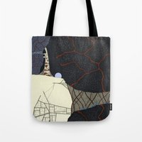kaiju Tote Bags featuring kaiju by thefleafarm (Amy Wright)