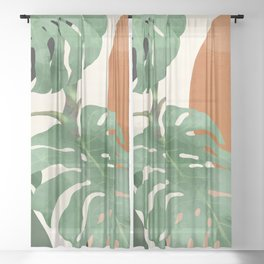 Tropical Leaves- Abstract Art  Sheer Curtain