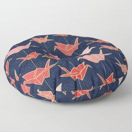 Red origami cranes on navy blue Floor Pillow