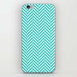 Teal white abstract geometrical chevron iPhone Skin