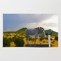 fitness Area & Throw Rugs featuring Fitness Zebra by Bemular