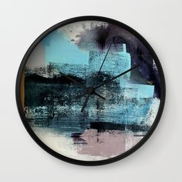 Reaction: an abstract mixed media piece in blues and purple by Alyssa Hamilton Art Wall Clock
