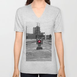 Train Track Signal Light Unisex V-Neck