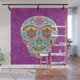 Flower Power Skully Wall Mural