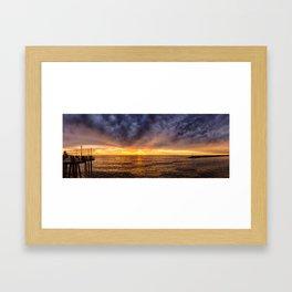 Redondo Beach Stormy Sunset Framed Art Print