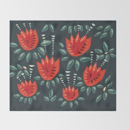Abstract Red Tulip Floral Pattern Throw Blanket