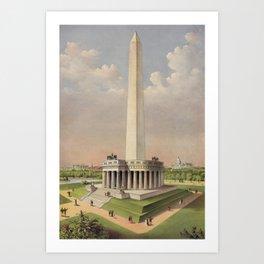 Currier & Ives. - Print c.1885 - The National Washington Monument Art Print