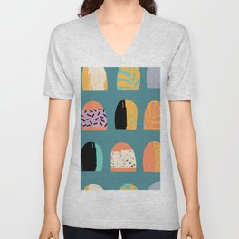 ABSTRACT COOL JUNGLE ARCHWAY PATTERN Unisex V-Neck