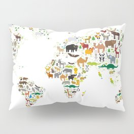 Cartoon animal world map for children and kids, Animals from all over the world on white background Pillow Sham
