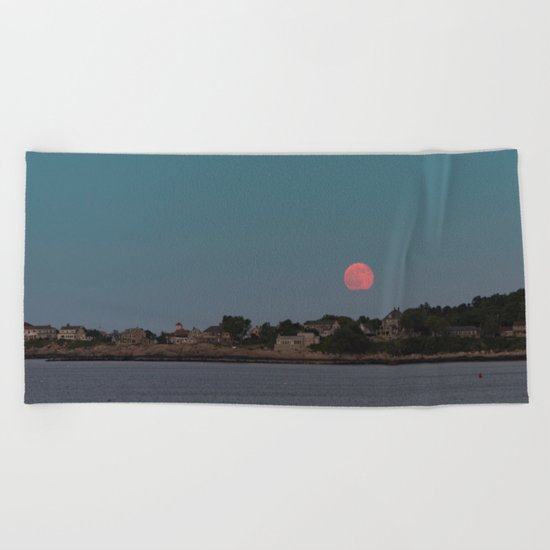 Full Strawberry Moon Rising over Rockport Beach Towel