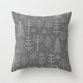 Abstract Gray White Winter Snowflakes Trees Pattern Throw Pillow
