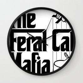 The Feral Cat Mafia (BLACK printing on light background) Wall Clock