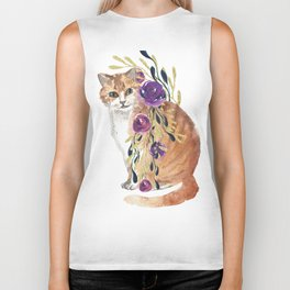 cat with flower boa Biker Tank