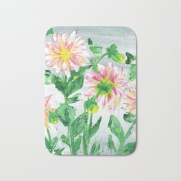 Dahlias on a cloudy day Bath Mat