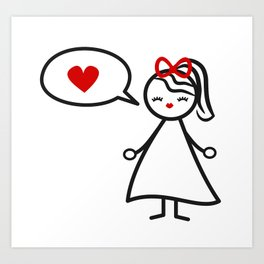 cute lovely black white red stick figure girl and speech bubble with heart Art Print