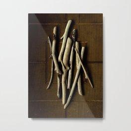 DRIFTWOOD ON WOOD GRID Metal Print