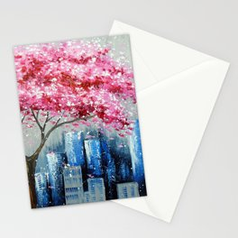 Cherry blossom in New York Stationery Cards
