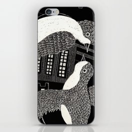 Swallows in City iPhone Skin