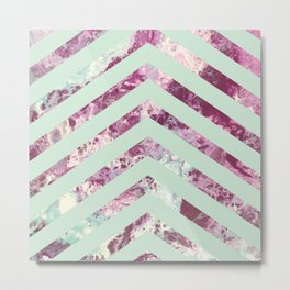 Fluid Purple Mint Stripes Metal Print