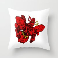 gundam Throw Pillows featuring Sazabi Ver HA by frikkinmunki
