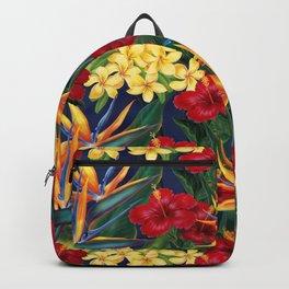 Tropical Paradise Hawaiian Floral Illustration Backpack