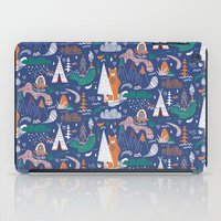 camp iPad Cases featuring Bear camp by Demi Goutte