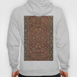 Flowery Boho Rug I // 17th Century Distressed Colorful Red Navy Blue Burlap Tan Ornate Accent Patter Hoody