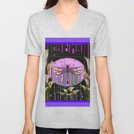Purple Art Nouveau Calla Lilies Dragonfly Art Unisex V-Neck