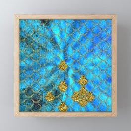 Blue Aqua Turquoise And Gold Glitter Mermaid Scales -Beautiful Mermaidscales Pattern Framed Mini Art Print