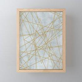 Golden Faux Glitter Lines On Teal Grey Framed Mini Art Print