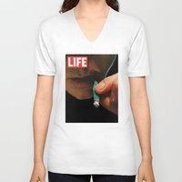 marijuana V-neck T-shirts featuring LIFE MAGAZINE: Marijuana by Tia Hank