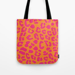80s Leopard Print in Orange and Hot Pink Tote Bag
