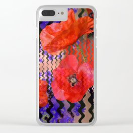 Summer Joy, abstract waves with poppies Clear iPhone Case